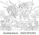 coloring page the unicorn and... | Shutterstock . vector #1021191331