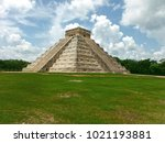 temple of kukulkan  pyramid in...   Shutterstock . vector #1021193881
