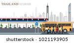 vector of bangkok city  rush... | Shutterstock .eps vector #1021193905