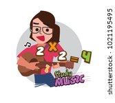 cute female or teacher playing... | Shutterstock .eps vector #1021195495