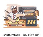 baker kneads and cooking dough. ... | Shutterstock .eps vector #1021196104