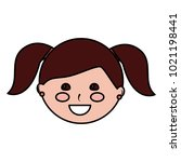 young cute girl face happy... | Shutterstock .eps vector #1021198441
