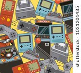 classic videogames and console... | Shutterstock .eps vector #1021201435