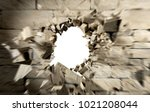 hole in cement and brick wall... | Shutterstock . vector #1021208044