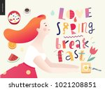 love  spring  breakfast... | Shutterstock .eps vector #1021208851