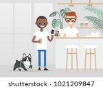 cozy coffee shop. modern...   Shutterstock .eps vector #1021209847