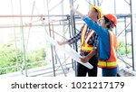 female engineers and male... | Shutterstock . vector #1021217179