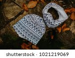kid cotton hat and tube scarf | Shutterstock . vector #1021219069