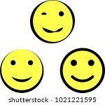 happy icon  smiley face icon... | Shutterstock .eps vector #1021221595