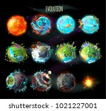 stages of the origin of life on ... | Shutterstock .eps vector #1021227001