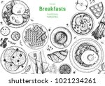 breakfasts top view frame.... | Shutterstock .eps vector #1021234261