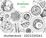 breakfasts top view frame. food ...   Shutterstock .eps vector #1021234261