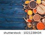 set of groats and grains.... | Shutterstock . vector #1021238434