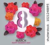 happy 8 march women's day.... | Shutterstock . vector #1021248895