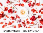 vivid passionate flat lay with...   Shutterstock . vector #1021249264