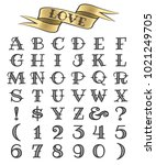 set of tattoo style letters and ...   Shutterstock .eps vector #1021249705