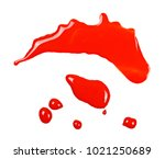 spilled red watercolor puddle... | Shutterstock . vector #1021250689