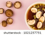 bowl of japanese style clear... | Shutterstock . vector #1021257751
