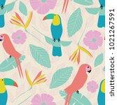 seamless vector tropical garden ... | Shutterstock .eps vector #1021267591