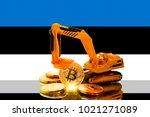 bitcoin mining concept ... | Shutterstock . vector #1021271089