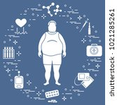 fat man with medical devices ... | Shutterstock .eps vector #1021285261