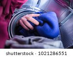 washing clothes inside   Shutterstock . vector #1021286551
