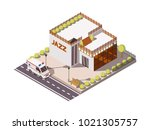 isometric set of rescue service ... | Shutterstock . vector #1021305757