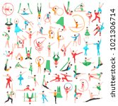 gymnastics and ballet big set... | Shutterstock . vector #1021306714
