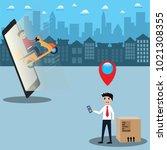 mobile application concept...   Shutterstock .eps vector #1021308355
