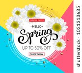 spring sale background with... | Shutterstock . vector #1021313635