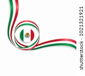 mexican flag wavy abstract... | Shutterstock . vector #1021321921
