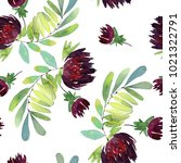 seamless watercolor flowers... | Shutterstock . vector #1021322791