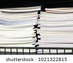 pile of school notebooks on ... | Shutterstock . vector #1021322815