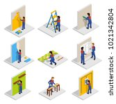 renovation isometric icons set...   Shutterstock . vector #1021342804