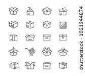 box related icons  thin vector... | Shutterstock .eps vector #1021344874