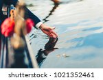 person touches the water with... | Shutterstock . vector #1021352461