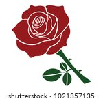 red rose with green leaves    Shutterstock .eps vector #1021357135
