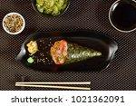 shrimp temaki sushi | Shutterstock . vector #1021362091