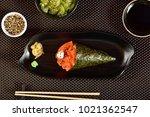salmon temaki sushi | Shutterstock . vector #1021362547