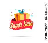 super sale shopping gift box | Shutterstock .eps vector #1021362871