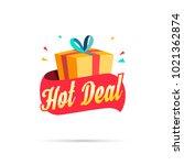 hot deal shopping gift box   Shutterstock .eps vector #1021362874