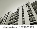 facade of a modern apartment... | Shutterstock . vector #1021369171
