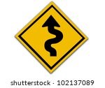 road sign   curves ahead... | Shutterstock . vector #102137089