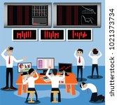 business finance concept. sad... | Shutterstock .eps vector #1021373734