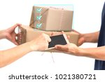 carrier man delivered products... | Shutterstock . vector #1021380721