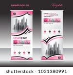 pink roll up banner template ... | Shutterstock .eps vector #1021380991