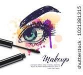 vector watercolor sketch... | Shutterstock .eps vector #1021381315