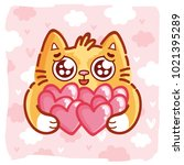 Stock vector cute ginger cat character with googly eyes madly in love holding many hearts on pink romantic 1021395289