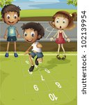Kids Playing Hopscotch In Park  ...