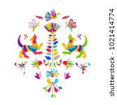 vector folk mexican otomi style ... | Shutterstock .eps vector #1021414774